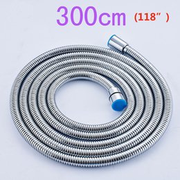 Stainless Steel 3M Flexible Shower Hose Bathroom Water Hose Replace Pipe Chrome Finish