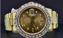 free shippng wholesale Factory Supplier NEW Luxury Top Quality Wristwatch Watch President 18K Yellow Gold Custom Diamond Watch Bezel 39m