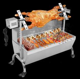 Wholesale 90cm Commercial Hog Roast Machine BBQ Spit Chicken Pig Roaster Rotisserie Stainless Steel Roasting Motor LLFA
