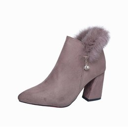 Women Shoes 2017 Winter Suede Shoes High Heels Women Boots Fashion Shallow Mouth Shoes Normal Size 35-39 High 5CM Boot Women