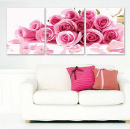 Three-Picture Combination Canvas Painting Pink Rose Flower Painting Oil Painting