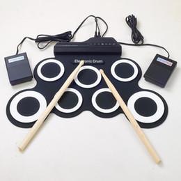 Batterie électronique pad ensemble en Ligne-Vente en gros-Professional 7 Pad numérique portable en silicone pliable musical rouleau de batterie électronique pad K Set avec bâton