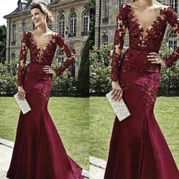New Dresses Evening Wear Sexy Deep V-Neck Long Sleeves Burgundy Appliques Lace Beaded Mermaid Long Formal Prom Dress Cocktail Party Gown
