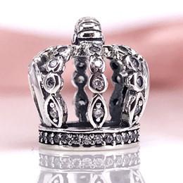 Authentic 925 Sterling Silver FAIRYTALE CROWN CHARM Fit DIY Pandora Bracelet And Necklace 792058CZ