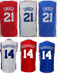Wholesale New Stitched Joel Embiid Sergio Rodriguez Jerseys Shirt Team Blue White Men Breathable Rev New Material Good