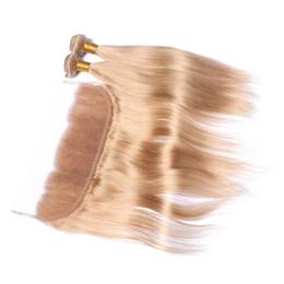 Descuento marrón recta armadura brasileña del pelo Miel Blonde 3 paquetes brasileño cabello humano con frontal recto # 27 de color marrón claro / fresa rubia 13x4 encaje frontal cierre con tejidos