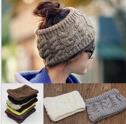 Wholesale fashion women wide crochet headband Hot winter Messy Bun empty wool hats womens wool caps wide headbands ladies hats beanies ear warmer