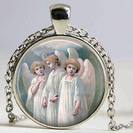 Acheter en ligne Anges ailes-Whimsical Angels Pendentif pendentif Holy Angels Art Cabochon Gift Church Faith Hope Angels Glass Open Wings