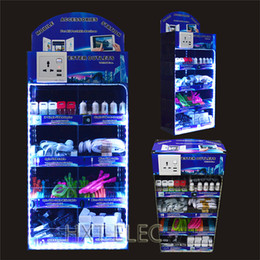 Wholesale acrylic display box LED lights in mobile phone portable accessories use for iphone samsung smartphones with usb charger cable earphone