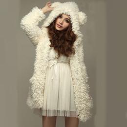 2017 hoodie de la fourrure pour les femmes 2016 femmes de mode hiver chaude douce épaisses Hoodies molletonnée veste de fourrure Faux poncho ours oreille capuche manteau Sweatshirts abordable hoodie de la fourrure pour les femmes