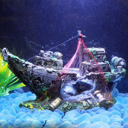 Wholesale New Chic Resin Aquarium Ornament Wreck Sunk Ship Sailing Boat Destroyer Fish Tank Tank Aquarium Decoration Size cm