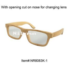 woman's rectangle small natural bamboo reading glasses with opening cut for changing lens