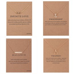 Wholesale With card Dogeared Necklaces Gold Plated infinity LOVE Friendship Anchor Balance bar Thanks Bone Pendant Necklace For Fashion women Jewelry
