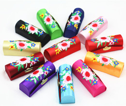 Pretty Embroidered Makeup Lipstick Storage Case with Mirror Empty Lip Balm Box Satin Fabric Lip gloss Tubes Packaging Containers 12pcs lot