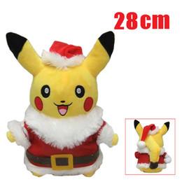 Wholesale 28CM Christmas Poke Pikachu Plush Toys Cartoon Cute Pikachu Charizard Action Figures Doll Chilren Best Christmas Gifts