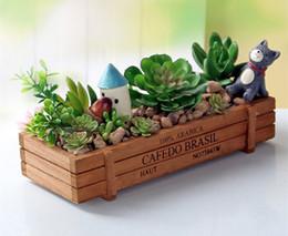 Wholesale Wooden Meaty Plant Flower Pot Retro Rectangular Fleshy Flower Pot Wooden Fence Wood Planter Box For Small Plant