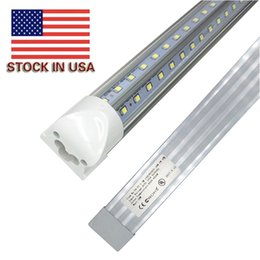 Stock In US V-Shaped T8 4ft 5ft 6ft 8ft Cooler Door Led Tube Integrated Led Tubes Double Sides SMD2835 Led Fluorescent Lights 85-265VAC