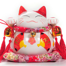 A large cat cute piggy bank opened Lucky Cat ornaments ornaments Ceramic Piggy Valentine
