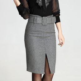 Wholesale Skirts Women Autumn Winter High Waist Midi Length Tight Skirt Red Black Slit Bodycon Pencil Skirts Elegant Office Plus XL XL