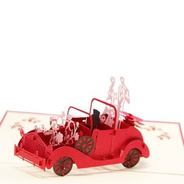 Wholesale pieces Valentines Day Gifts Wedding Invitation Cards Customizable Handmade Vintage Wedding Car D POP Up Greeting Cards