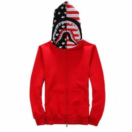 Wholesale Cotton Mouth Head - 2016 Wholesale clothing Shark mouth Hoodies hip hop clothing United States flag head mens designer shirts tracksuit plus size black red