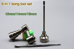 Wholesale Glass Bong Tool Set mm mm mm Adjustable Domeless GR2 Titanium Nail Carb Cap Dabber Tool Slicone Jar Dab Container For Water Bongs
