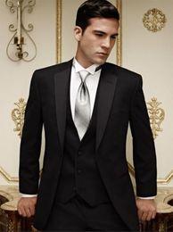 New Arrivals Two Buttons Black Groom Tuxedos Notch Lapel Best Man Groomsman Men Wedding Suits Bridegroom (Jacket+Pants+Tie+Vest) NO:888