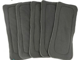 Bébé tissu réutilisable couche nappy à vendre-2015 Livraison gratuite Naughty Baby Charcoal Bamboo 20pcs 5 couches (3 + 2) Tissus de coton réutilisables Diaper pads Inserts de nappe