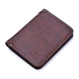 Canada Hommes Short Brown Coffee Soft Real Véritable cuir de vachette en cuir Portefeuilles Vintage Designer Male Small Wallet Porte-cartes de crédit Porte-monnaie small brown purses promotion Offre