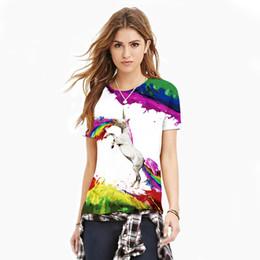 Скидка окрашенная лошадь VMT Новые стильные женские 3d футболки Печать Rainbow Flying Horse Spray Paint Быстрая сухая футболка Летние топы Tees