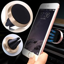 Wholesale Magnetic Car Phone Holder Universal For iPhone S Samsung Galaxy Huawei P9 Lite Aluminum Silicone Car Air Vent Stand Mount