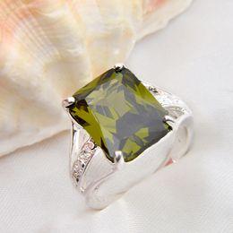 Wholesale 925 silver peridot gemstone rings R0076