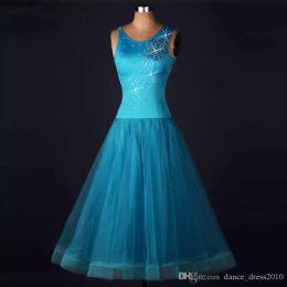 New Ballroom Dance Dress Modern Waltz Tango Standard Sky blue Rhinestone Dance Dress Size S-XXL Custom A111