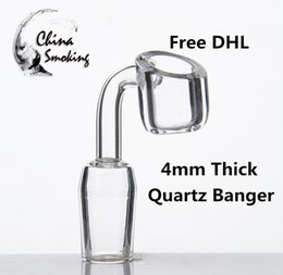 DHL 4mm Quartz Banger Domeless quartz nail 14mm 18mm 10mm male female oil rig dab glass bong