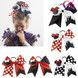 Wholesale 8 quot Fashion Handmade Sequin Bling Cheer Bows for Girl Children Kids Boutique Sequin Hair Accessories with Elastic
