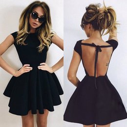 Modern Little Black Homecoming Dresses A Line Jewel Neck Sexy Backless Mini Short Cocktail Dresses BA3464