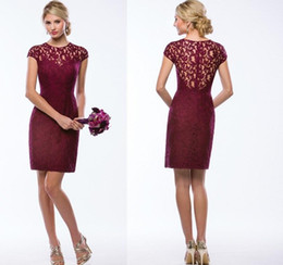 Wholesale Sexy hot money small round neck wine red lace skirt heart collar back zipper sleeve Homecoming Dresses sleeve skirt