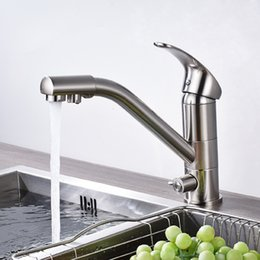 Good Quality Brushed Nickle Bathroom Basin Faucet Deck Mounted Single Handle Single Hole Mixer Tap purified water Spout