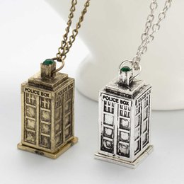 Wholesale Vintage Jewelry Doctor Who D Antique Silver Bronze Tardis Police Box Pewter Tall Long Chain Pendant Necklace For Men And Women