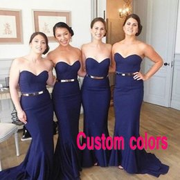 Stunning Fitted Mermaid Bridesmaid Dress Long Formal Blue Bridesmaids Dresses Wedding Party Guest Gowns Sweetheart Sleeveless Formal Gown