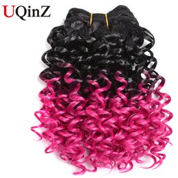 Uqinz 2 Bundle Brazilian Kinky Curly weave with Ombre Black To Pink Color Hair Bundles Extension Curly Weave Hair (8inch 100g)
