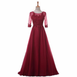 Real Photo Long Prom Dresses 2016 3 4 Sleeves Lace Appliques Draped Tulle Formal Evening Gowns Cheap In Stock