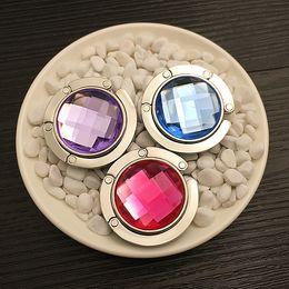 many colors Portable Folding Rhinestone Metal Crystal Alloy Purse Handbag Bag Hanger Hook Holder Newest Fashion 14 colors