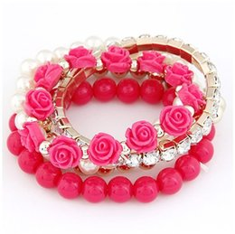 Trendy Fashion Candy Color Pearl Rose Flower Multilayer Charm Bracelet & Bangle For Women Fashion Crystal Dress Jewelry