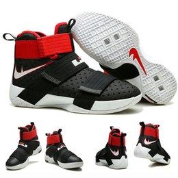 Vente en gros Vente Hot Air LeBron Zoom Soldier 10 James BLACK UNIVERSITY RED WHITE Men's Blacketball Shoes à partir de soldats lebron noir fournisseurs