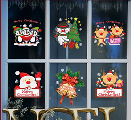 Wholesale 2017 Color wall stickers Christmas shop shop glass window stickers Hotel is dressed up snow bell Santa Claus