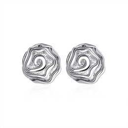 925 Silver Plated Stud Fashion Ladies Rose Stud Eardrop Charms Earrings Graceful Girl Studs Free Shipping