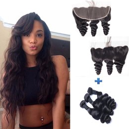 8A Brazilian Curly Hair Wefts 3 Bundles Natural Color Loose Wave Hair Weaves 300g with 13*4 Lace Frontal Closure Virgin Human Hair Bundles