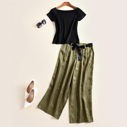 Wholesale Europe and the United States women s clothing in the spring of the new T shirt copper ammonia silk wide legged pants suit