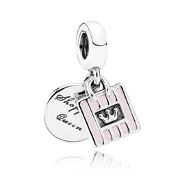 magasins de charme Promotion Authentique 925 Sterling Silver Bead Charm Pink Enamel Shopping Queen Bag Pendentif Perles Fit Femmes Pandora Bracelet Bangle Diy Bijoux HK3684